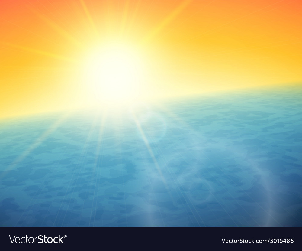 Sunset at sea horizon with summer sun vector | Price: 1 Credit (USD $1)