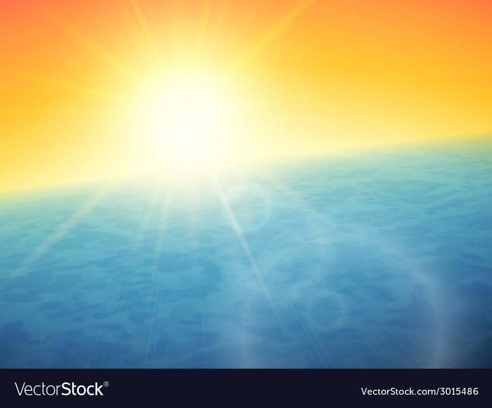 Sunset at sea horizon with summer sun vector | Price: 1 Credit (USD $1)