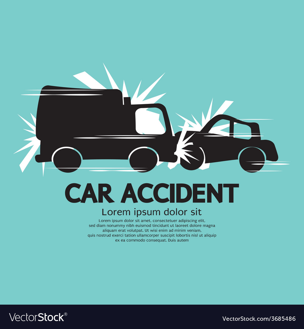 Truck and car in an accident vector | Price: 1 Credit (USD $1)