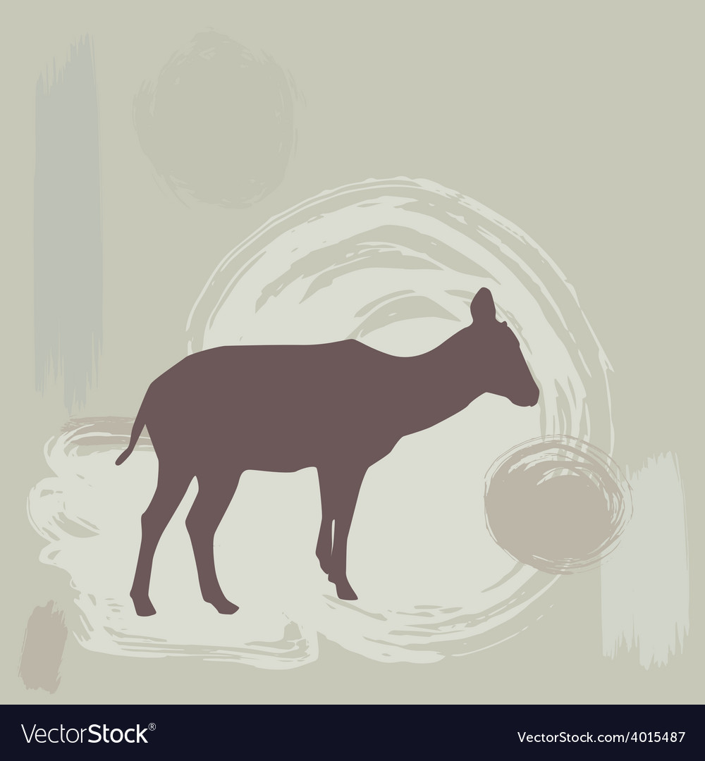 Antelope fawn silhouette on grunge background vector | Price: 1 Credit (USD $1)