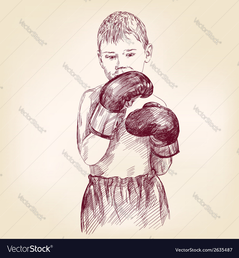 Boy boxer - hand drawn llustration realistic vector | Price: 1 Credit (USD $1)
