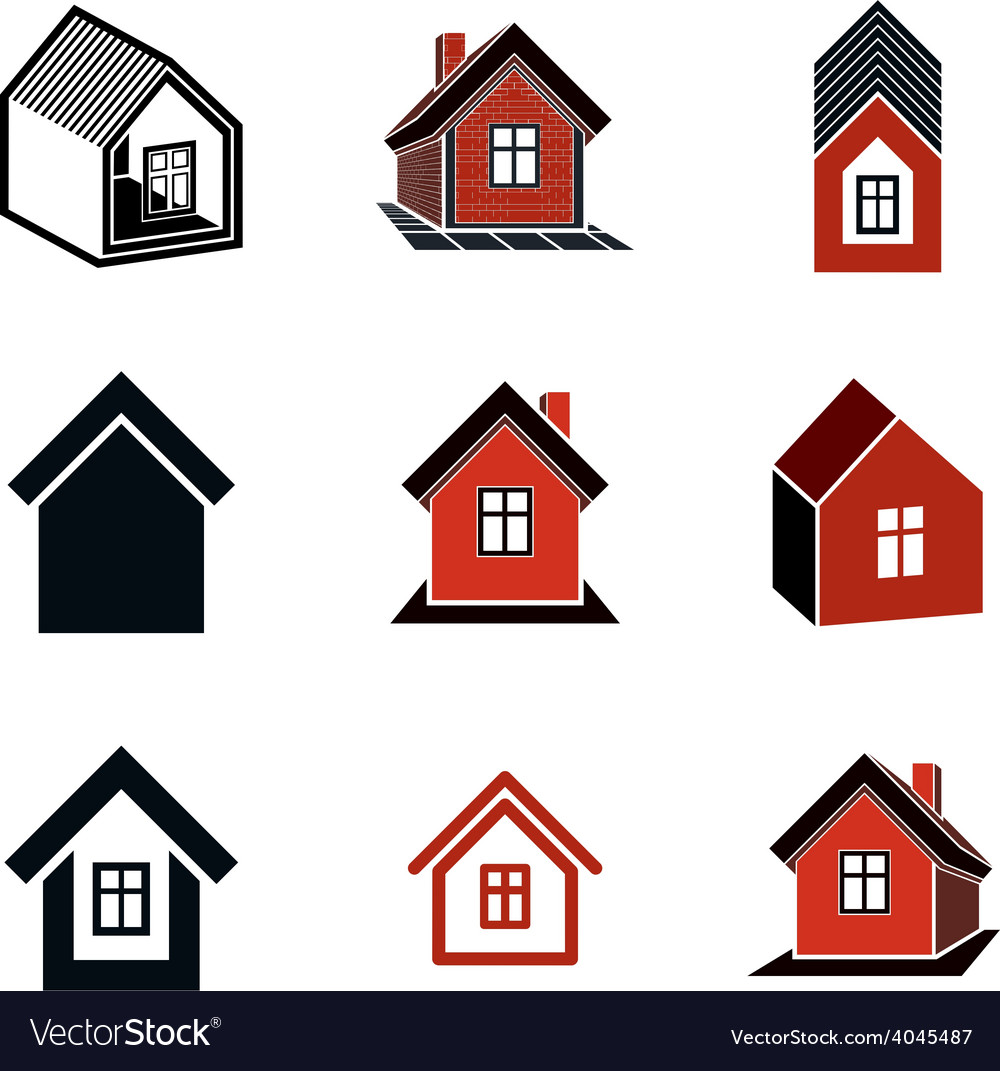 Different houses icons for use in graphic design vector | Price: 1 Credit (USD $1)