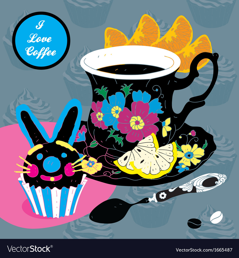 Elegant cup of coffee card vector   Price: 1 Credit (USD $1)