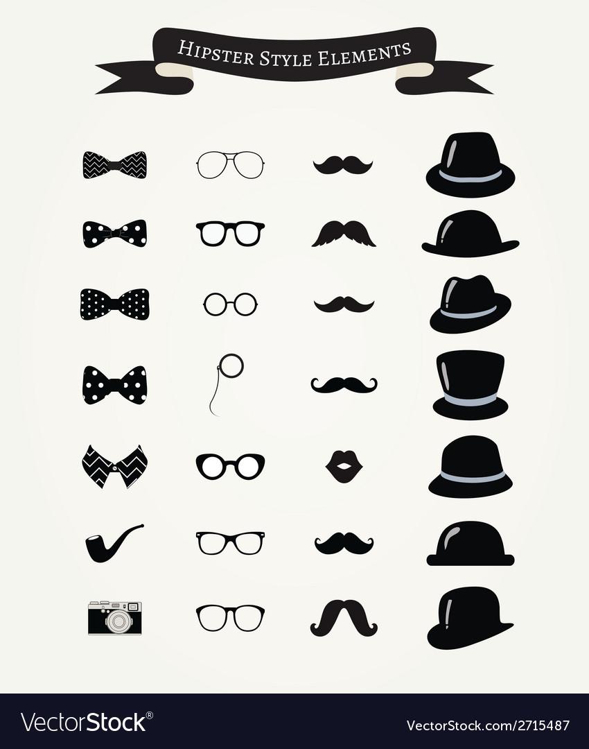 Hipster retro vintage icon set vector | Price: 1 Credit (USD $1)