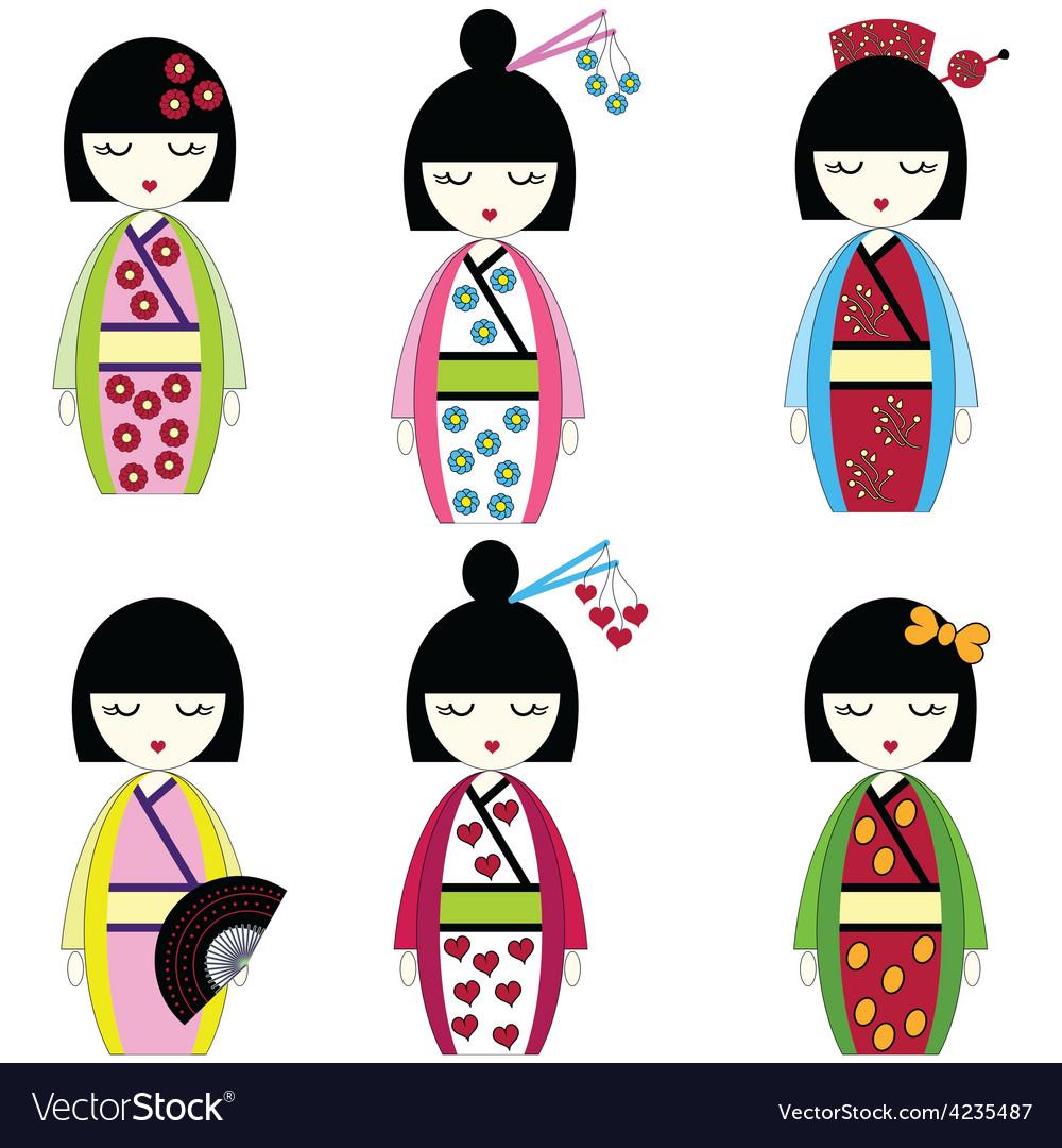 Japanese dolls vector | Price: 1 Credit (USD $1)