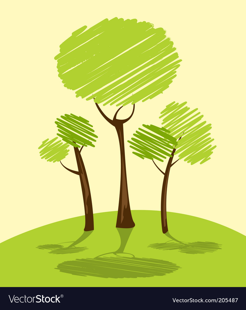 Landscape trees vector | Price: 1 Credit (USD $1)