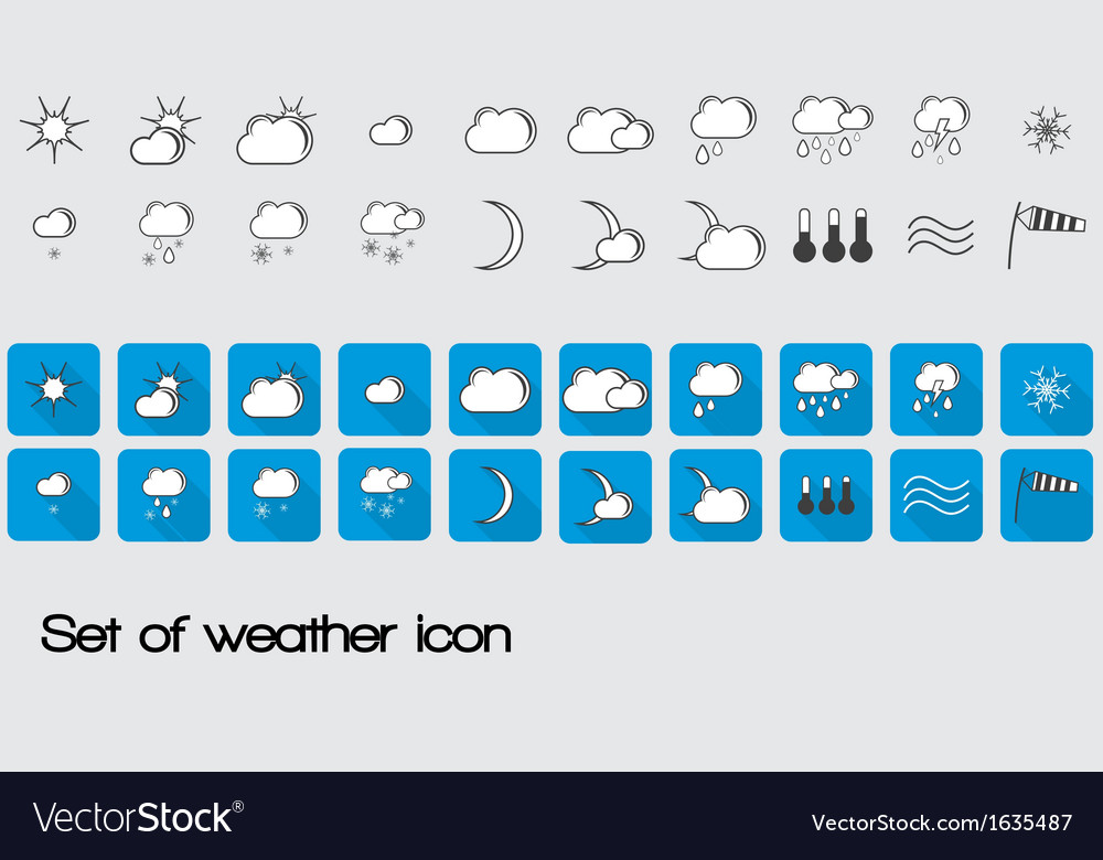 Set of weather icon vector | Price: 1 Credit (USD $1)