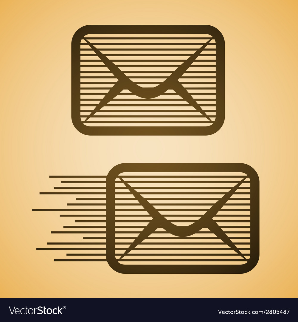 Striped e-mail envelope icon vector | Price: 1 Credit (USD $1)