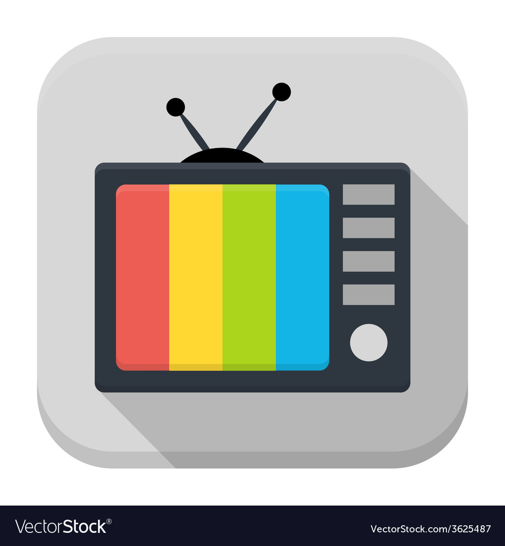 Tv flat app icon with long shadow vector | Price: 1 Credit (USD $1)
