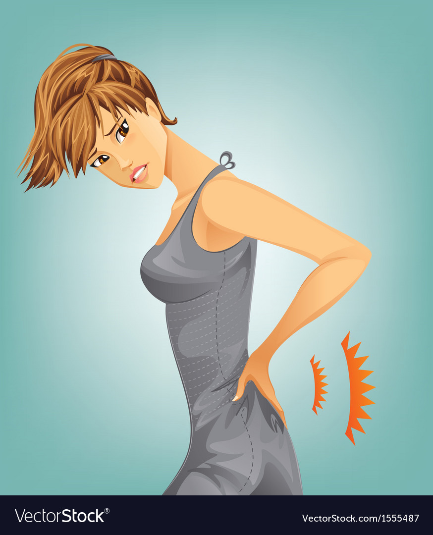 Woman suffering from backache vector | Price: 3 Credit (USD $3)