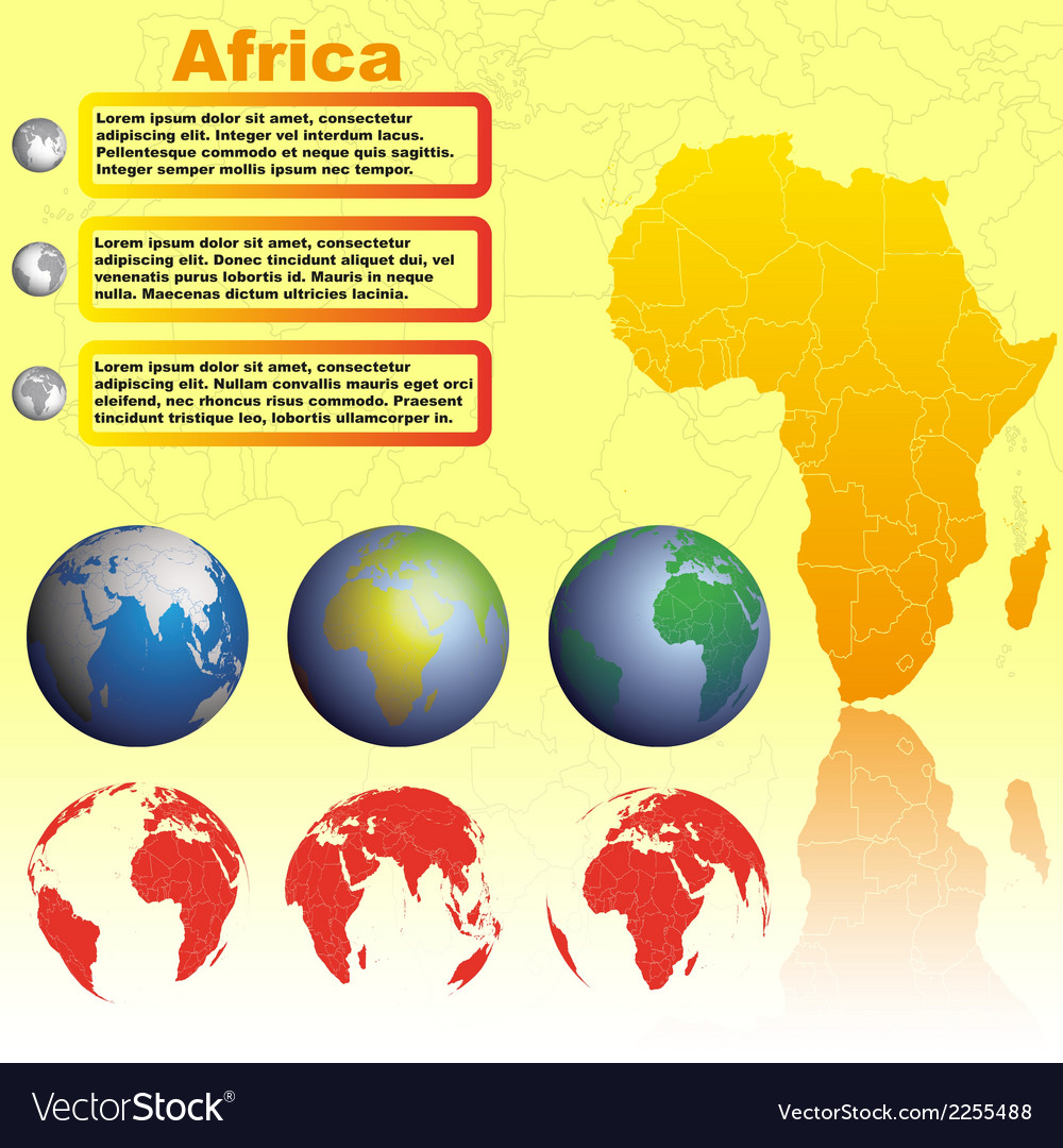 Africa map on yellow background vector | Price: 1 Credit (USD $1)