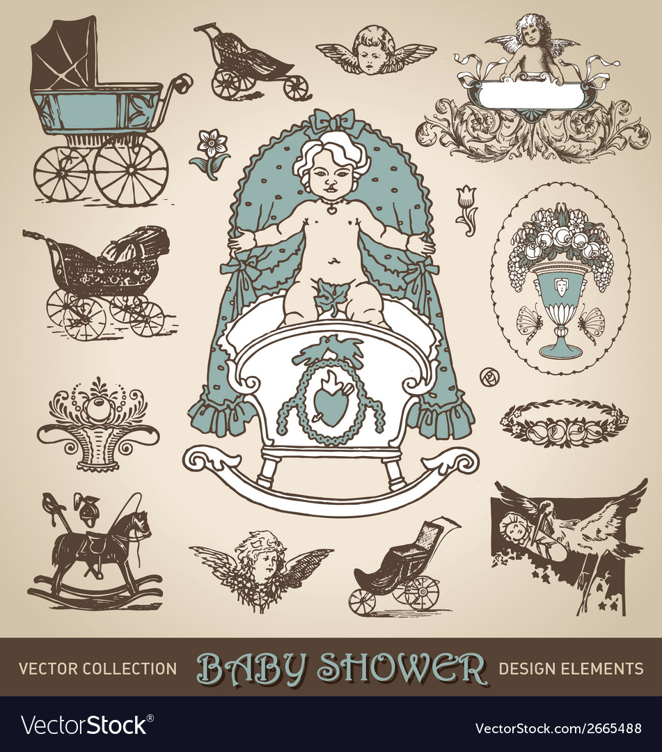 Baby shower antique design elements set vector | Price: 1 Credit (USD $1)