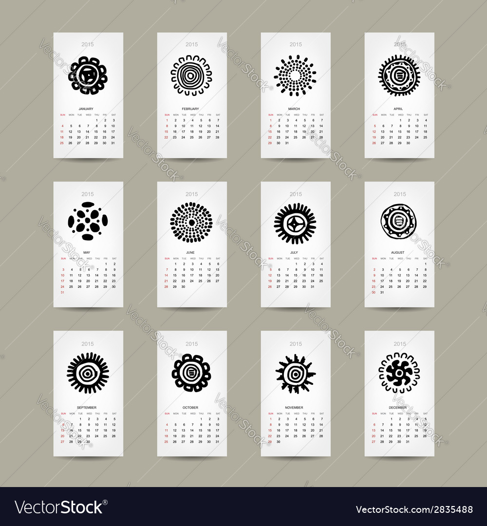 Calendar grid 2015 for your design ethnic ornament vector | Price: 1 Credit (USD $1)