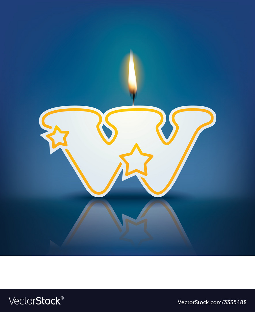 Candle letter w with flame vector | Price: 1 Credit (USD $1)
