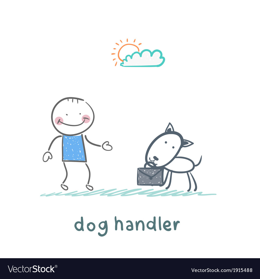 Canine teaches the dog to bring a suitcase vector | Price: 1 Credit (USD $1)