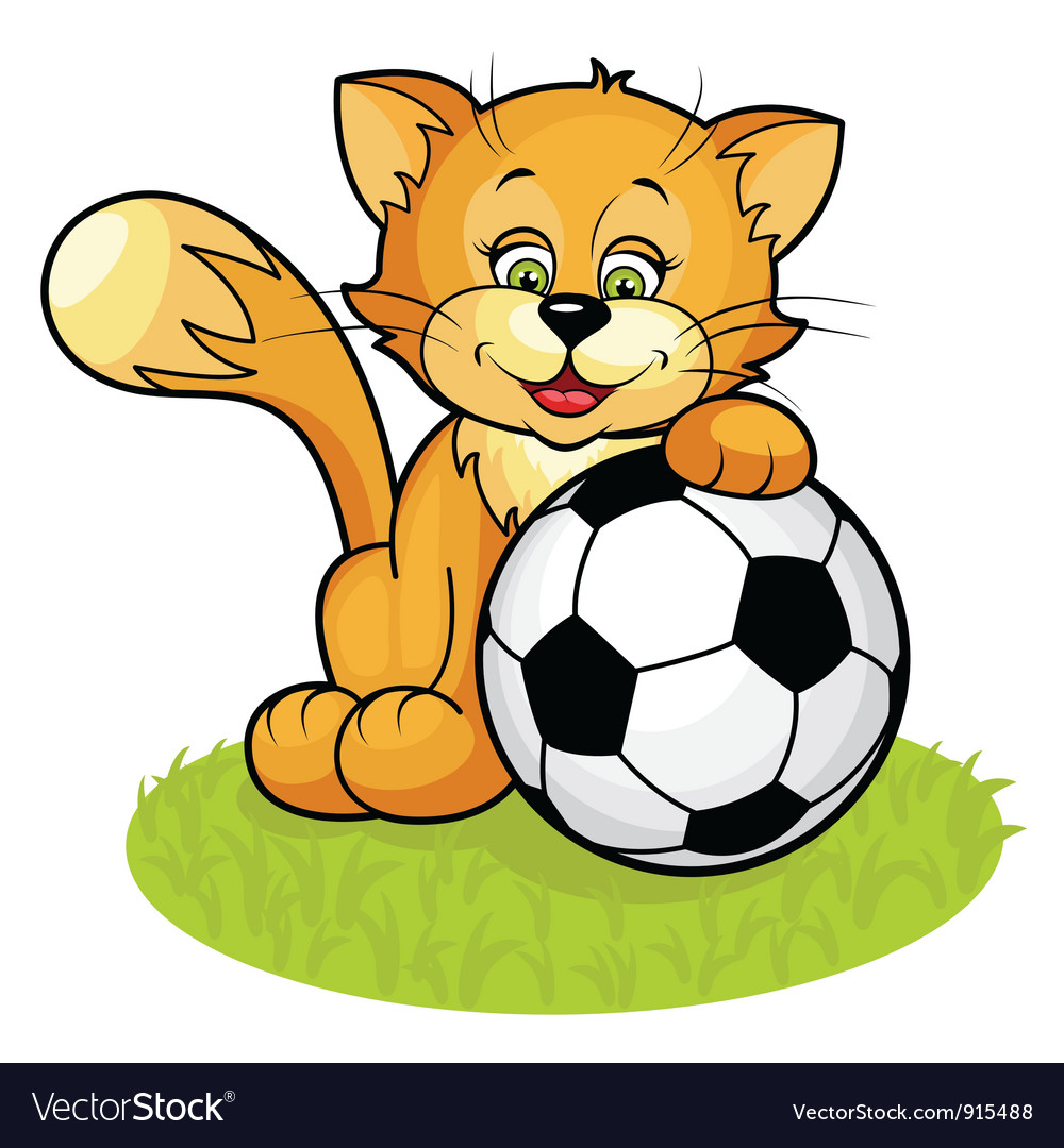 Cat with soccer ball vector | Price: 1 Credit (USD $1)