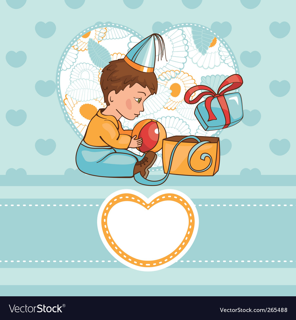Child with a birthday present vector | Price: 1 Credit (USD $1)