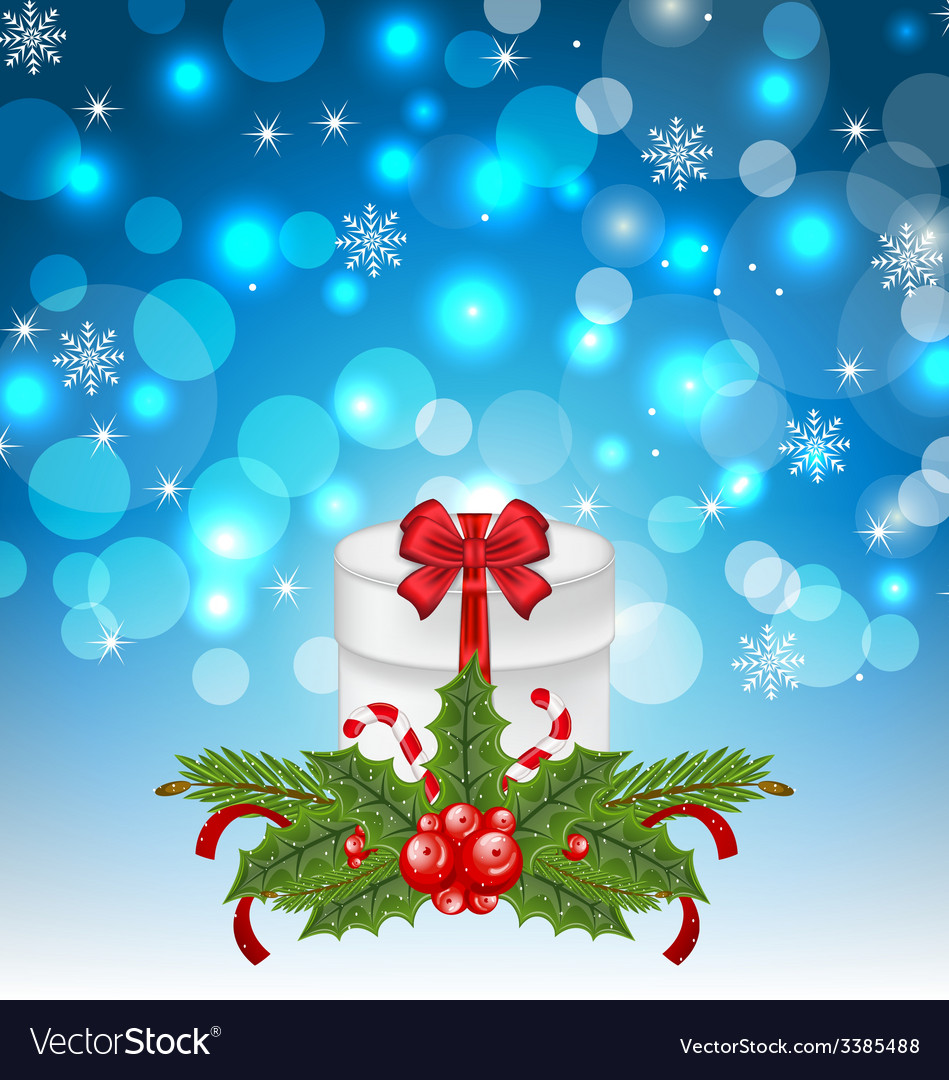 Christmas gift box with holiday decoration - vector | Price: 3 Credit (USD $3)