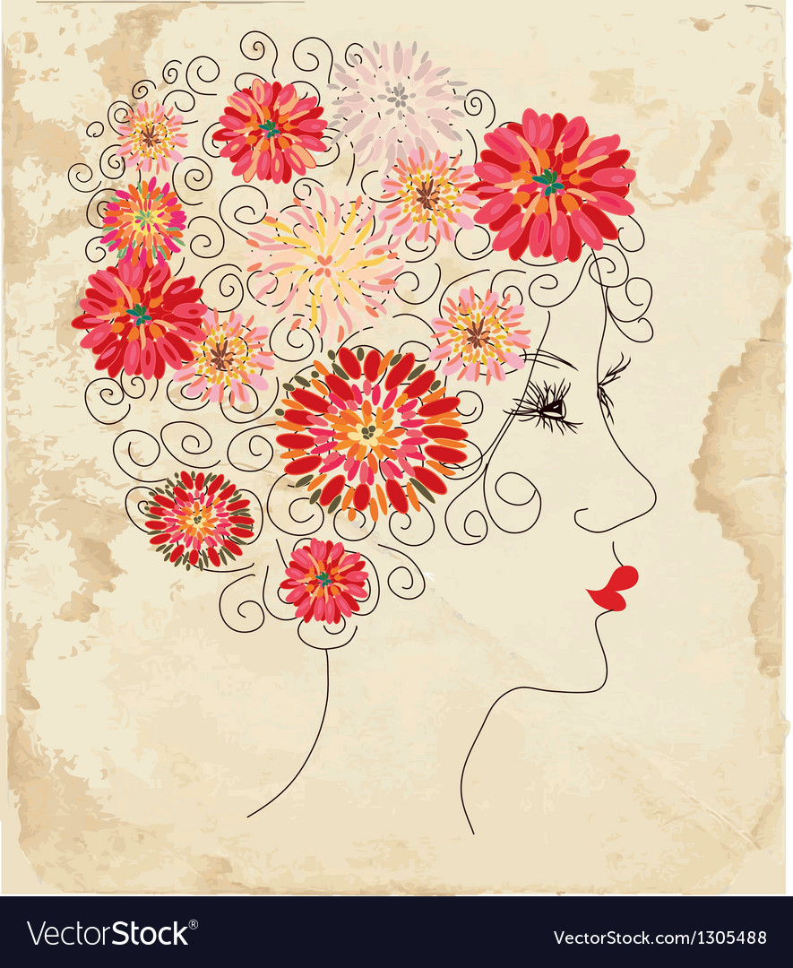 Fashion girl floral head on the paper vector   Price: 1 Credit (USD $1)
