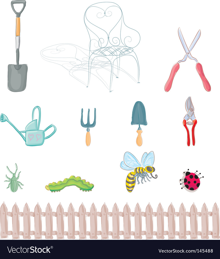 Gardening objects vector | Price: 1 Credit (USD $1)