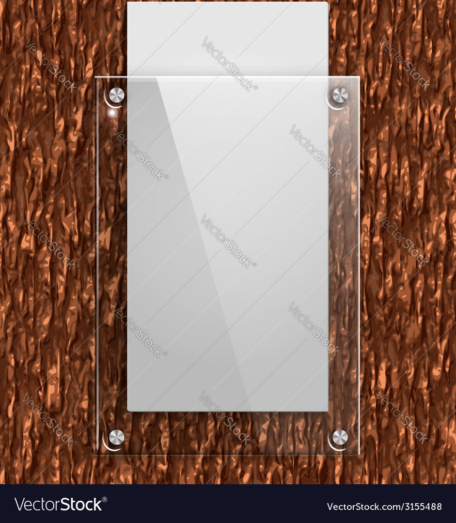Glass plate on the bark of a tree with white paper vector | Price: 1 Credit (USD $1)