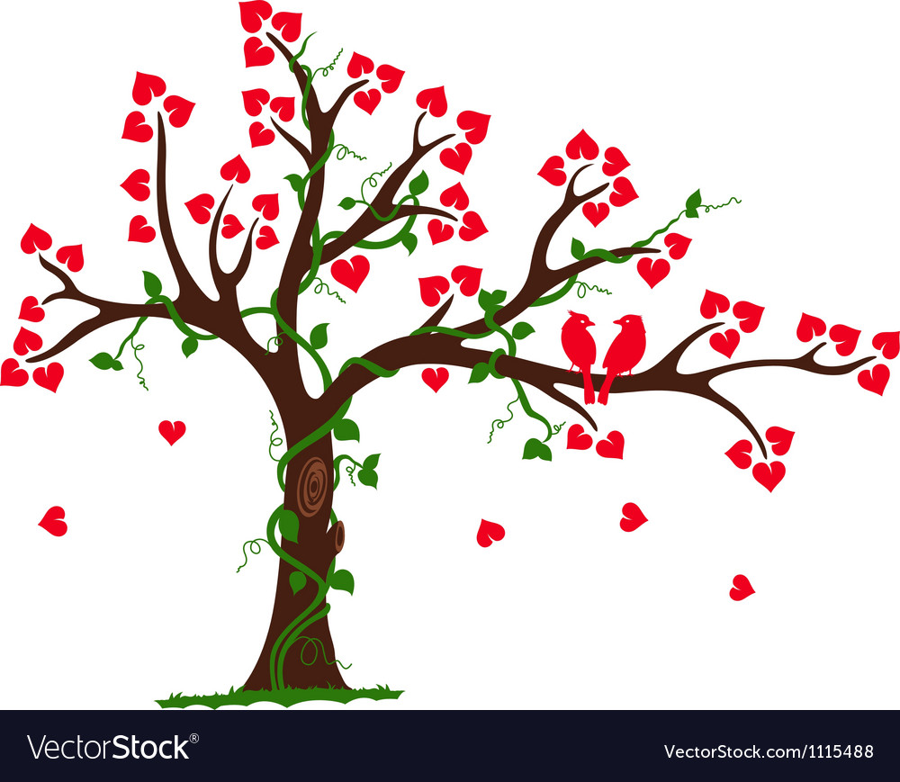 Love tree with heart liana and vine vector | Price: 1 Credit (USD $1)