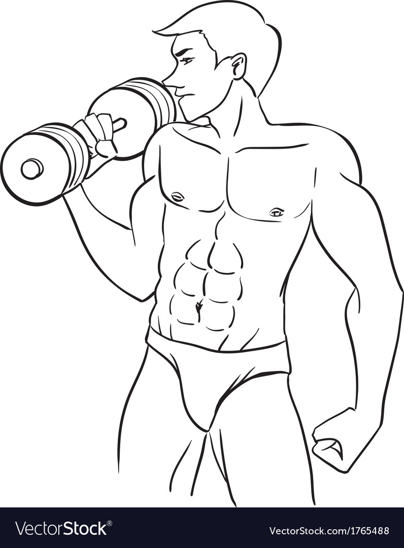 Man with dumbbells vector | Price: 1 Credit (USD $1)