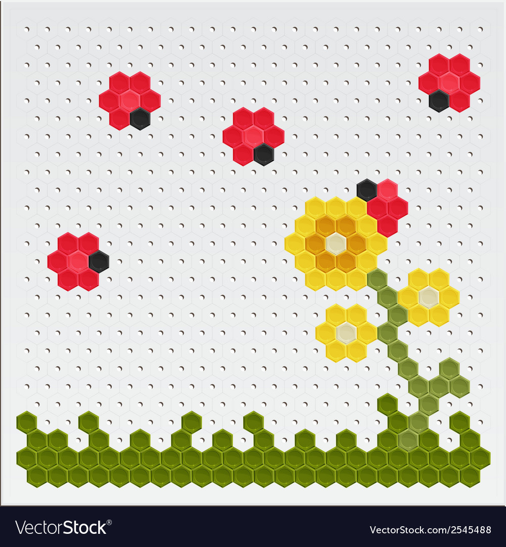Mosaic flowers and ladybird vector | Price: 1 Credit (USD $1)