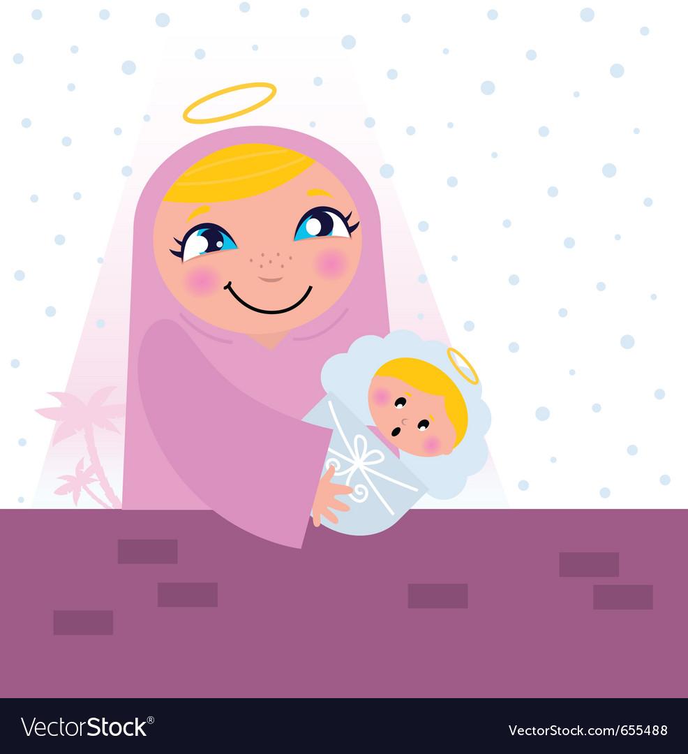 Nativity bethlehem scene vector | Price: 1 Credit (USD $1)