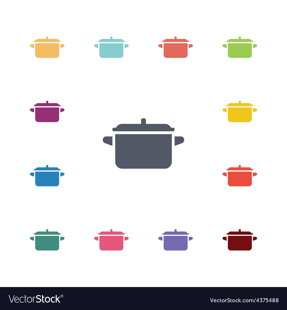 Pot flat icons set vector | Price: 1 Credit (USD $1)