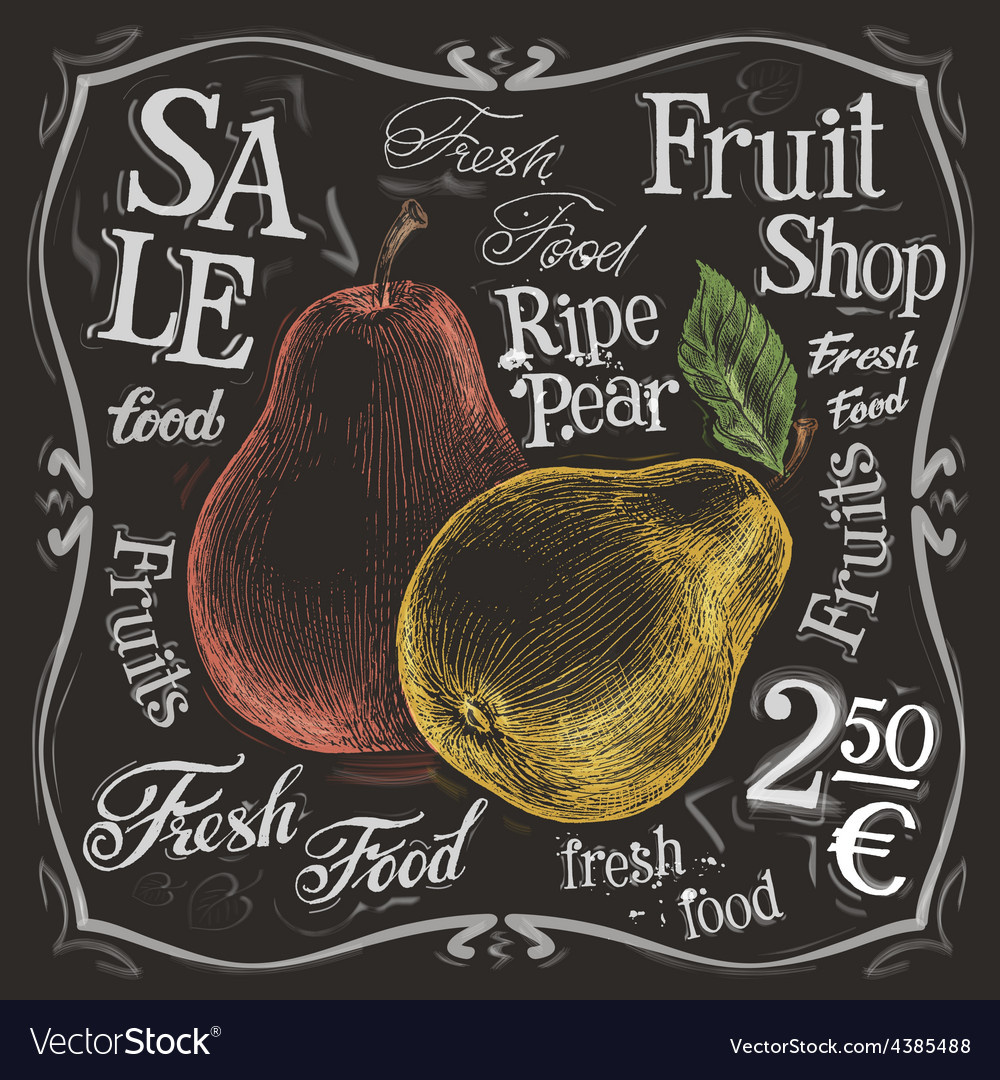 Ripe pear logo design template fresh vector | Price: 3 Credit (USD $3)