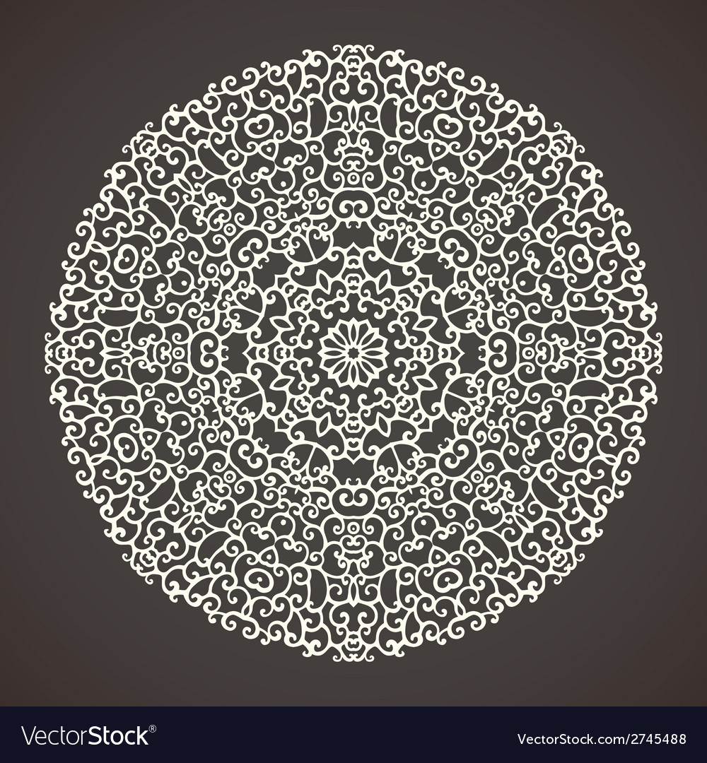 Round kaleidoscopic lace ornamental background vector | Price: 1 Credit (USD $1)