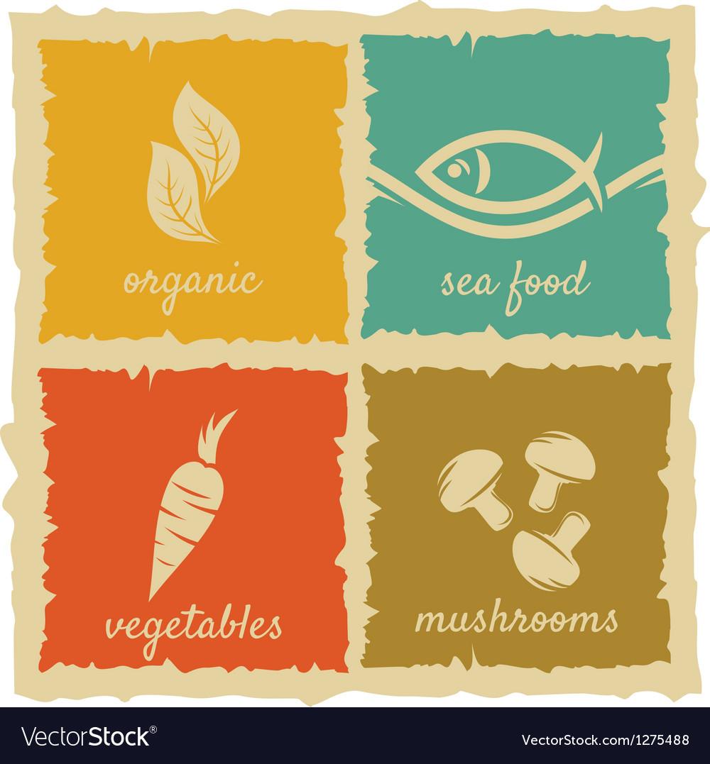 Set of vintage food labels vector