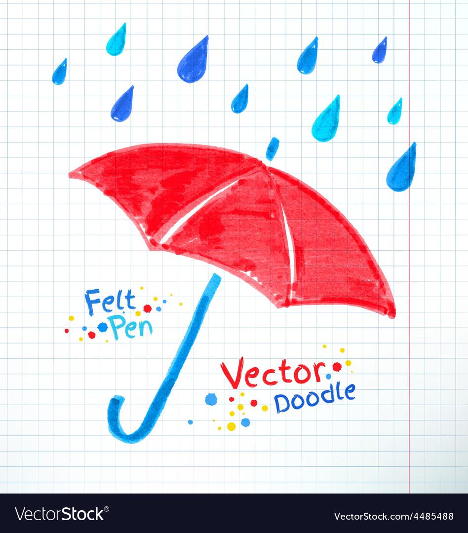 Umbrella and rain drops felt vector