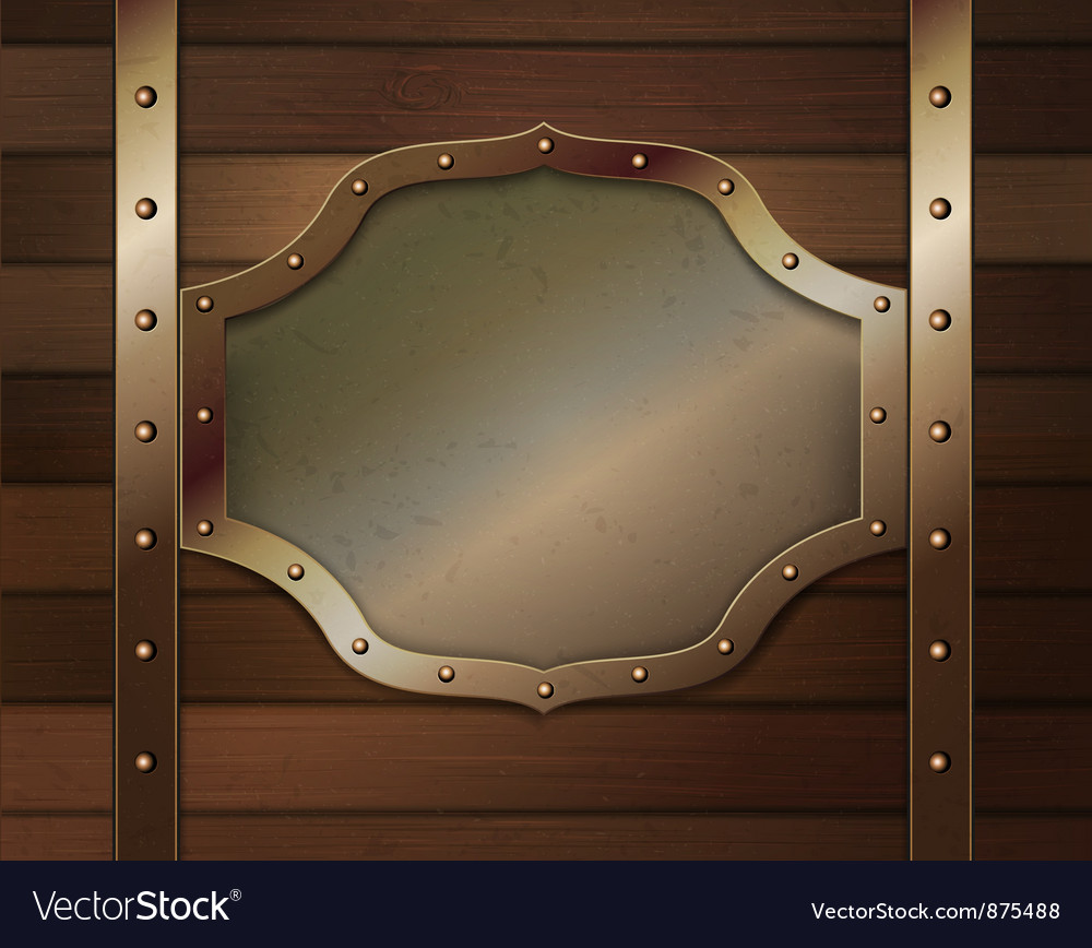 Wood background with metallic plate vector | Price: 1 Credit (USD $1)