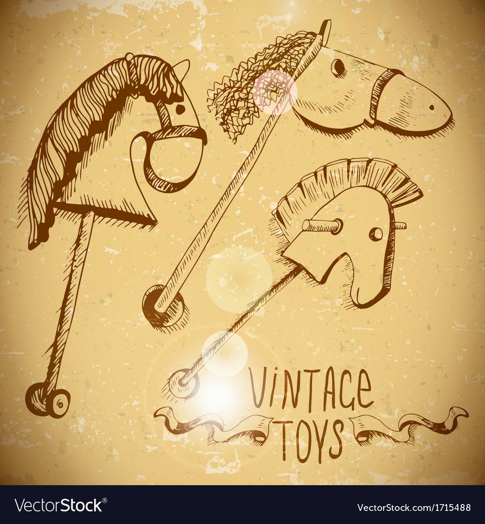 Wooden rocking horses vector | Price: 1 Credit (USD $1)