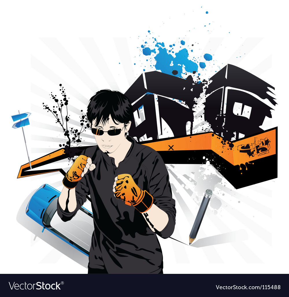 Young boy boxer extreme sports vector | Price: 5 Credit (USD $5)