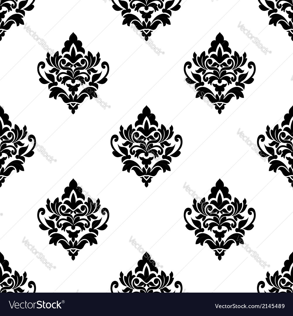 Black and white seamless arabesque pattern vector | Price: 1 Credit (USD $1)