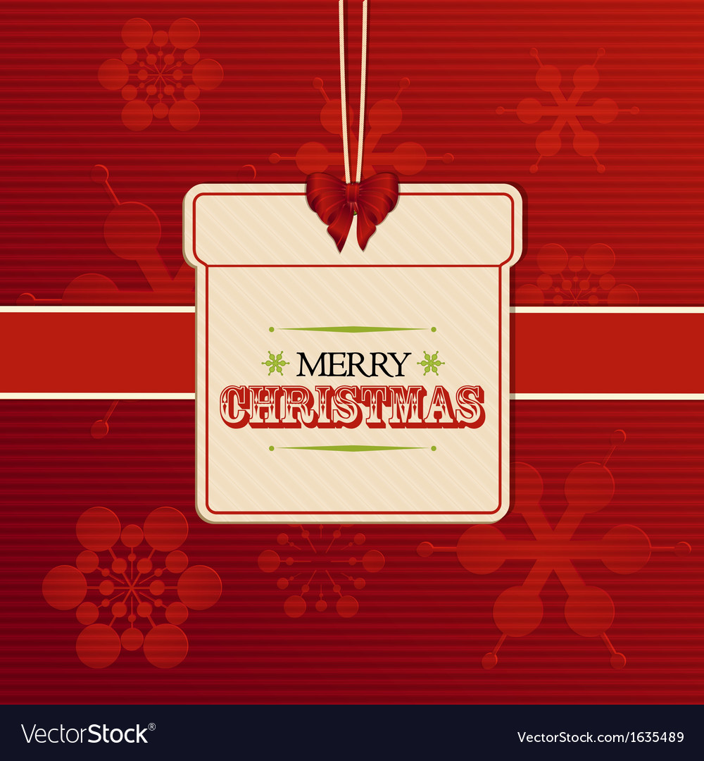 Christmas gift label on red embossed snowflakes vector | Price: 1 Credit (USD $1)