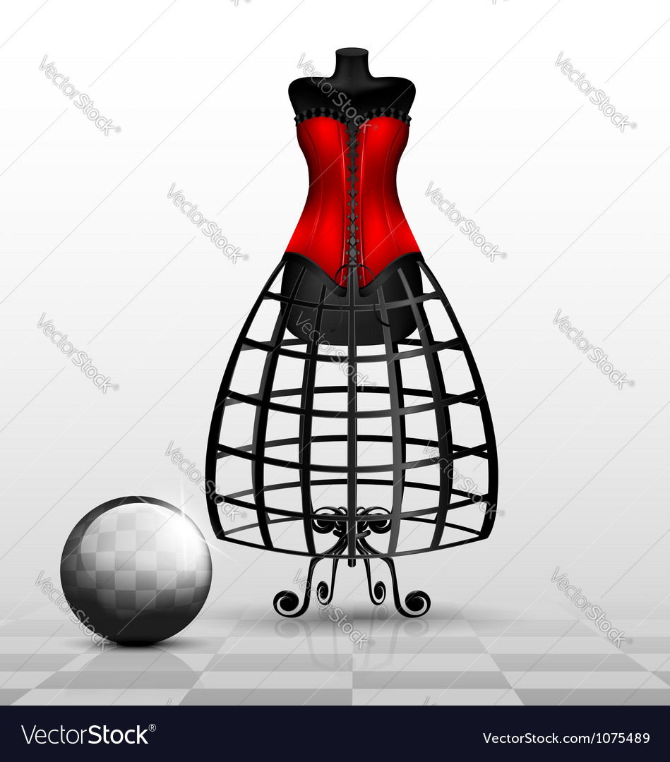 Dummy and red corset vector | Price: 1 Credit (USD $1)