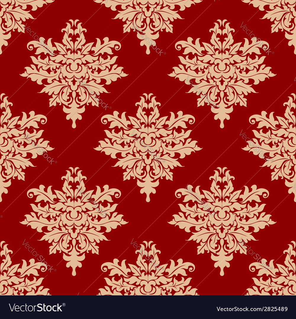 Floral beige on red seamless pattern vector | Price: 1 Credit (USD $1)