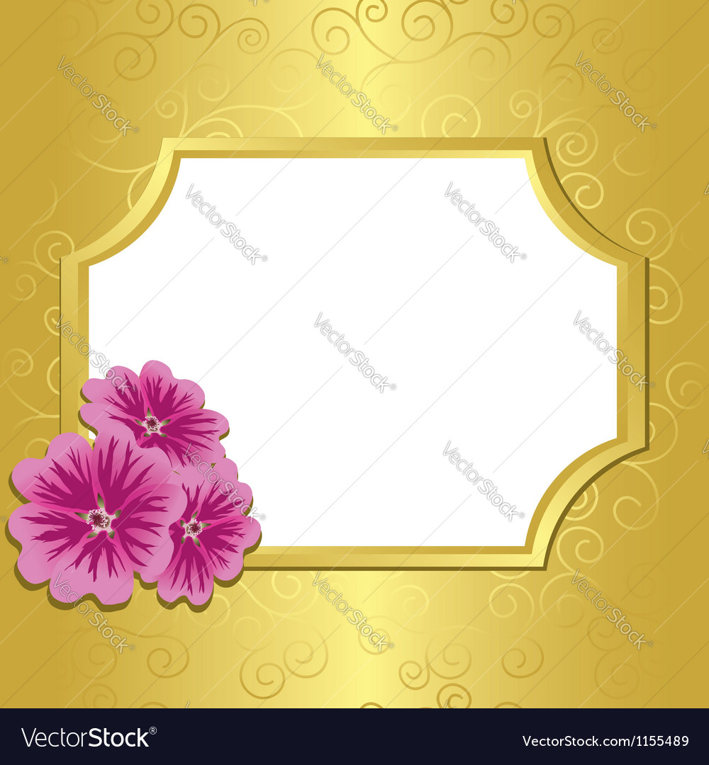Golden frame with flowers malva vector | Price: 1 Credit (USD $1)