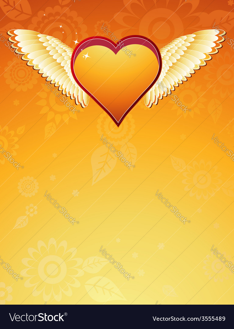 Golden heart with wings on golden background vector | Price: 1 Credit (USD $1)
