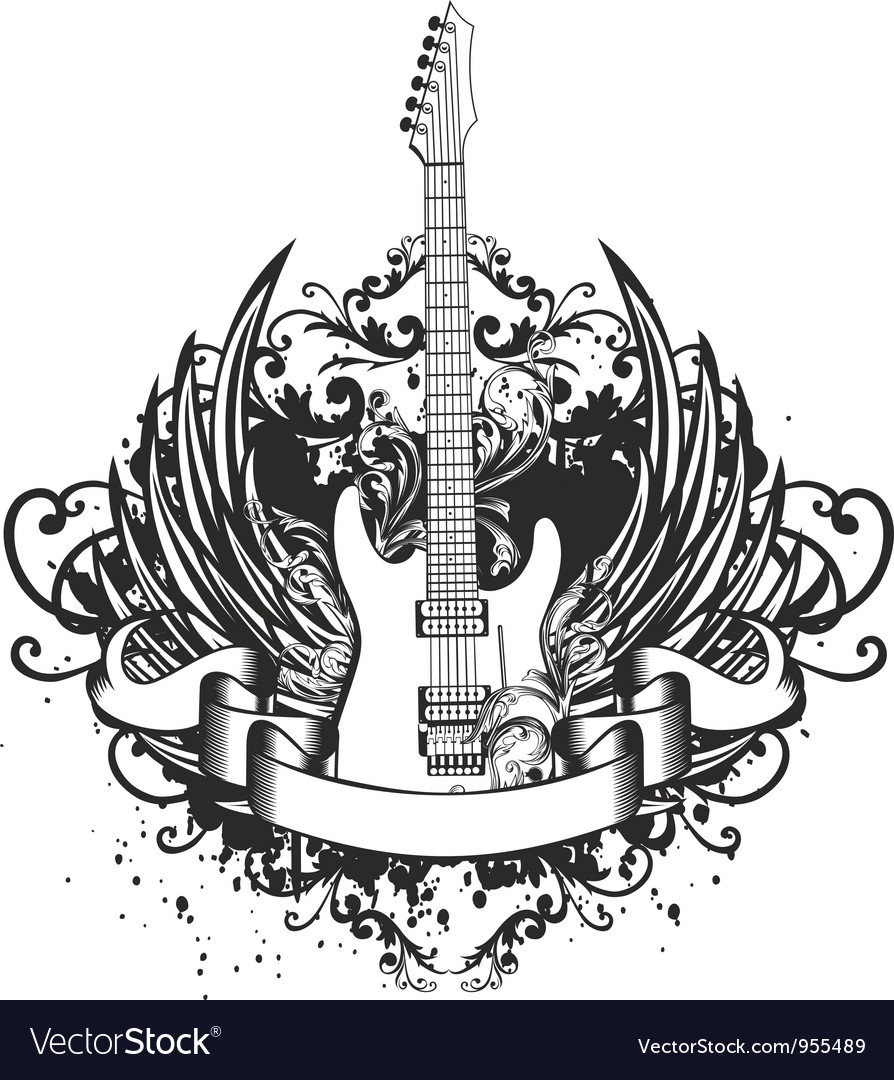 Guitar with wings and patterns vector | Price: 1 Credit (USD $1)