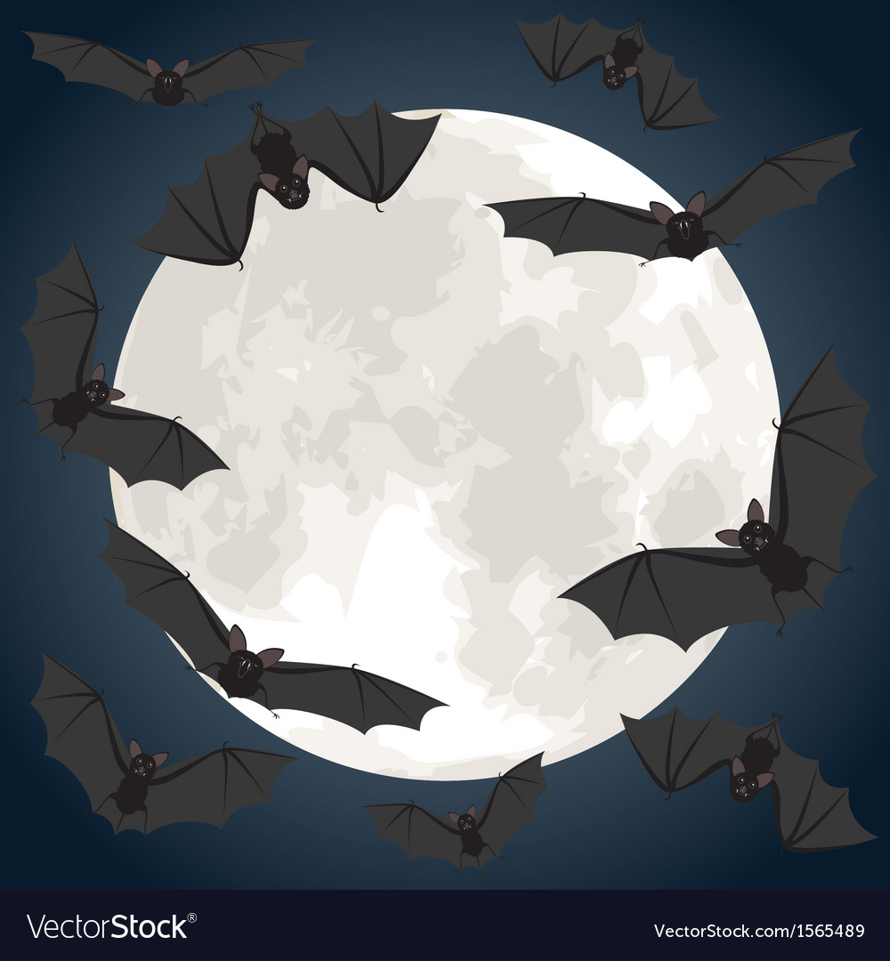 Moon and bats vector | Price: 1 Credit (USD $1)