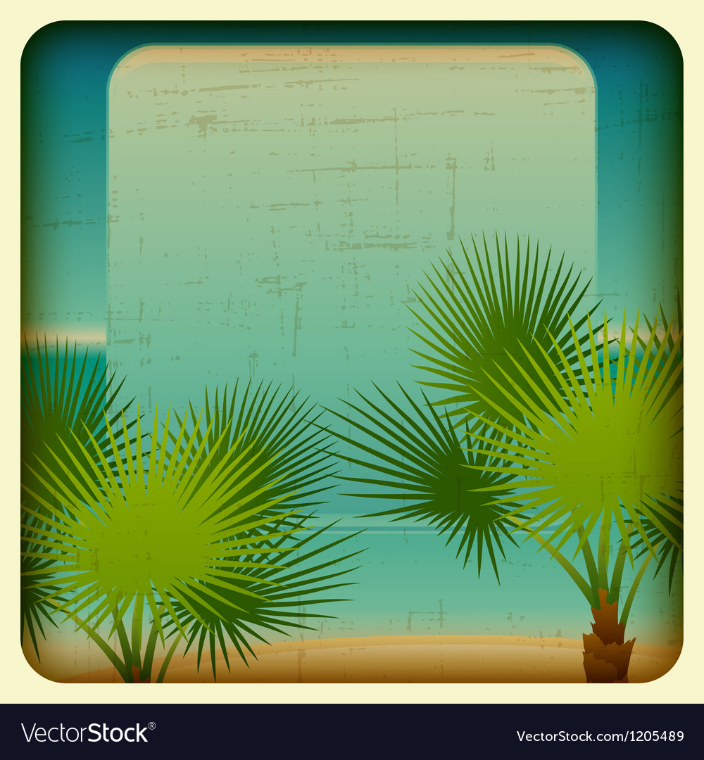 Retro background with seaside and palm trees vector | Price: 1 Credit (USD $1)