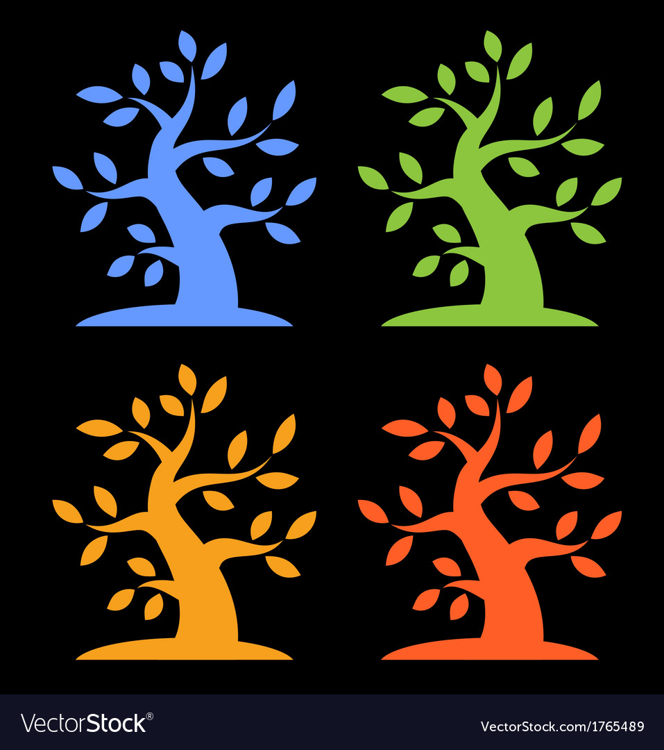 Set of colorful season tree bold icons vector | Price: 1 Credit (USD $1)