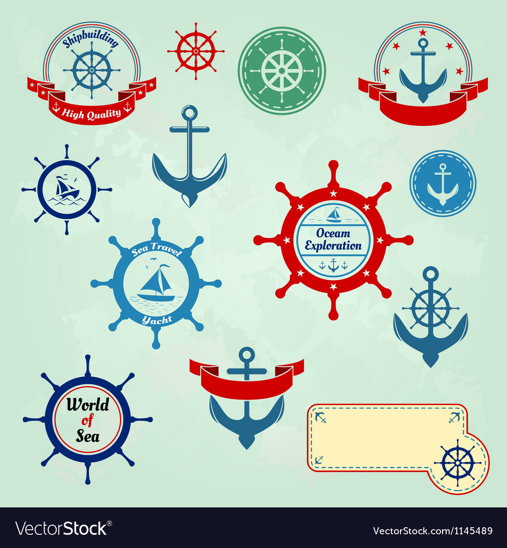 Set of nautical badges and labels logo vector | Price: 1 Credit (USD $1)