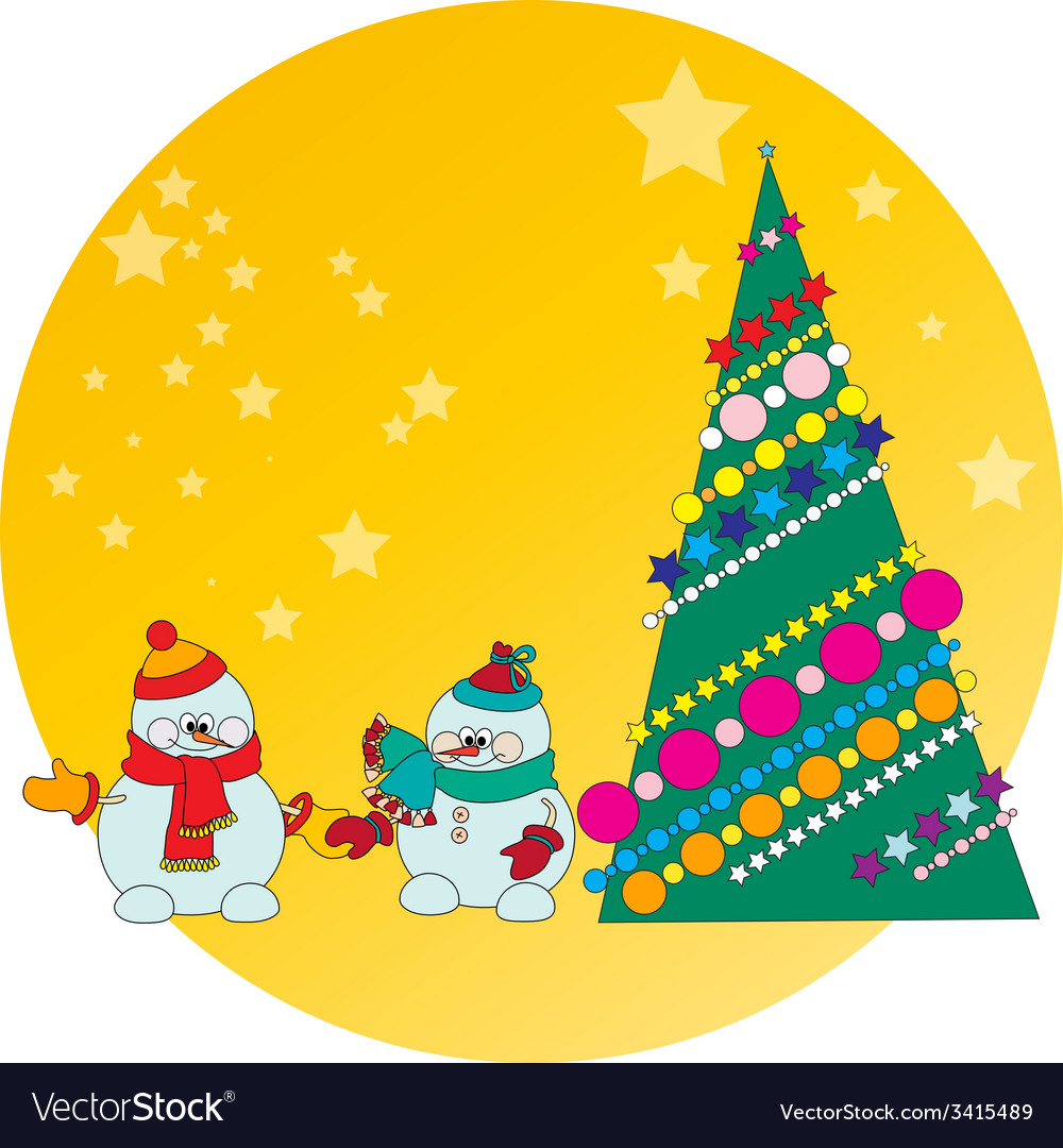 Snowman and christmas tree vector | Price: 1 Credit (USD $1)