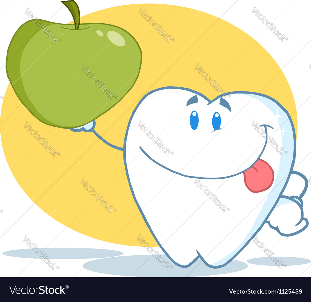 Tooth character holding up a green apple vector | Price: 1 Credit (USD $1)